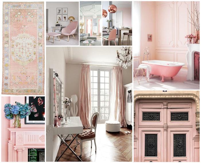 objets décoratifs en nuances pastel, pièces aux murs peints en rose pastel, revêtement de sol en bois