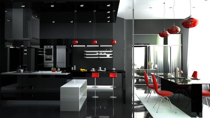 idee deco cuisine, aménagement de cuisine moderne en noir et rouge, lampes suspendues en rouge