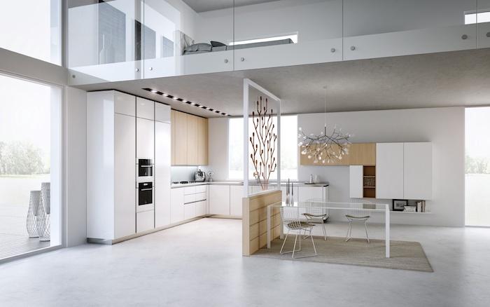 cuisine semi ouverte, meubles de cuisine blancs sans poignées, murs blancs et plafond gris foncé