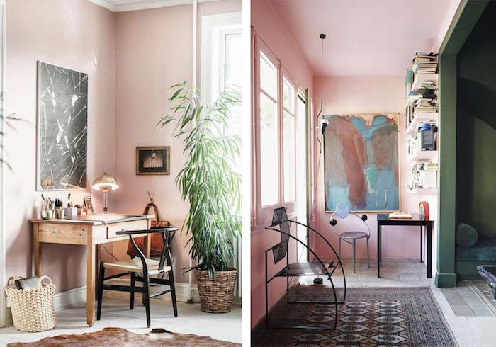 pièces aux murs peints en rose pastel, tapis noir à motifs géométriques, tapis en faux fur marron