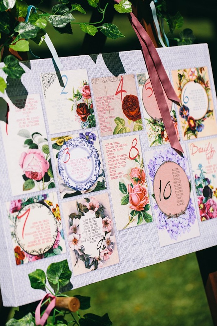 plan de table mariage a imprimer, petites listes à imprimé fleuri avec nombres et décoration de fleurs, cadre naturel, mariage en plein air