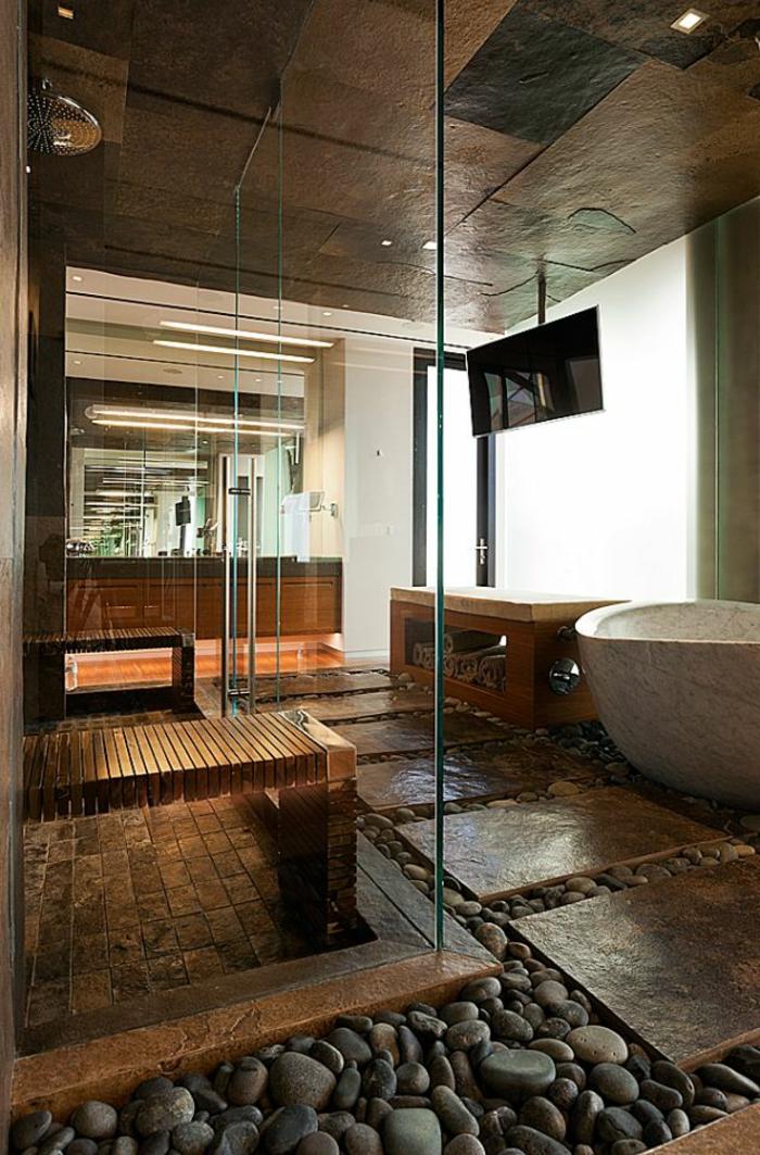 decoration salle de bain, grandes dalles en pierre, décoration de salle de bain zen