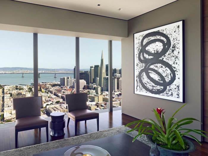 peinture mur couleur gris taupe pour salon appartement moderne