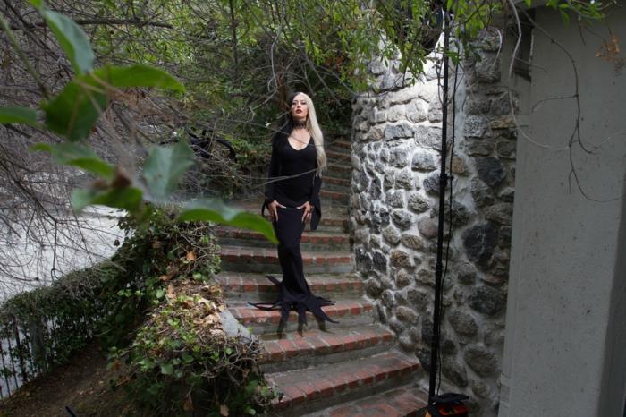Cool idée déguisement halloween morticia addams du film Morticia cheveux noirs et blonds
