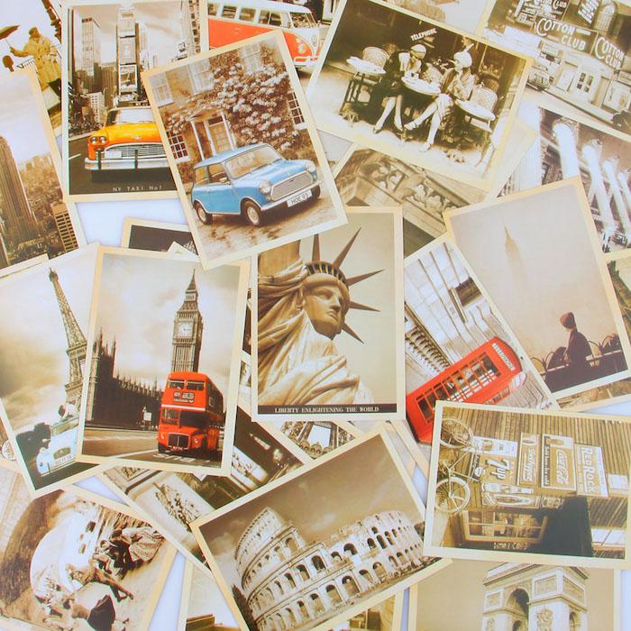idée de collection de cartes postales vintage rétro de paysages urbains, idée de cadeau fête des grands pères