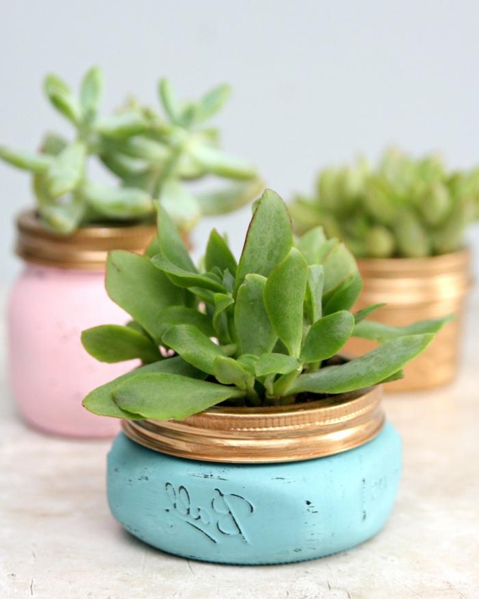 pot de fleur diy miniature fabriqué dans des pots en verre, repeints couleur bleu et rose pastel avec des succulents, déco avec de la récup