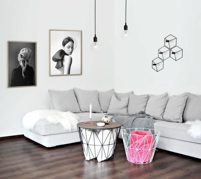 idée comment recycler une poubelle avec un plateau en bois rond, rangement intégré, idee creation deco originale, chambre scandinave