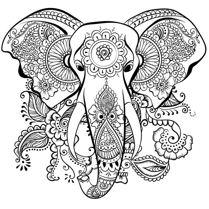 coloriage anti stress éléphant à imprimer