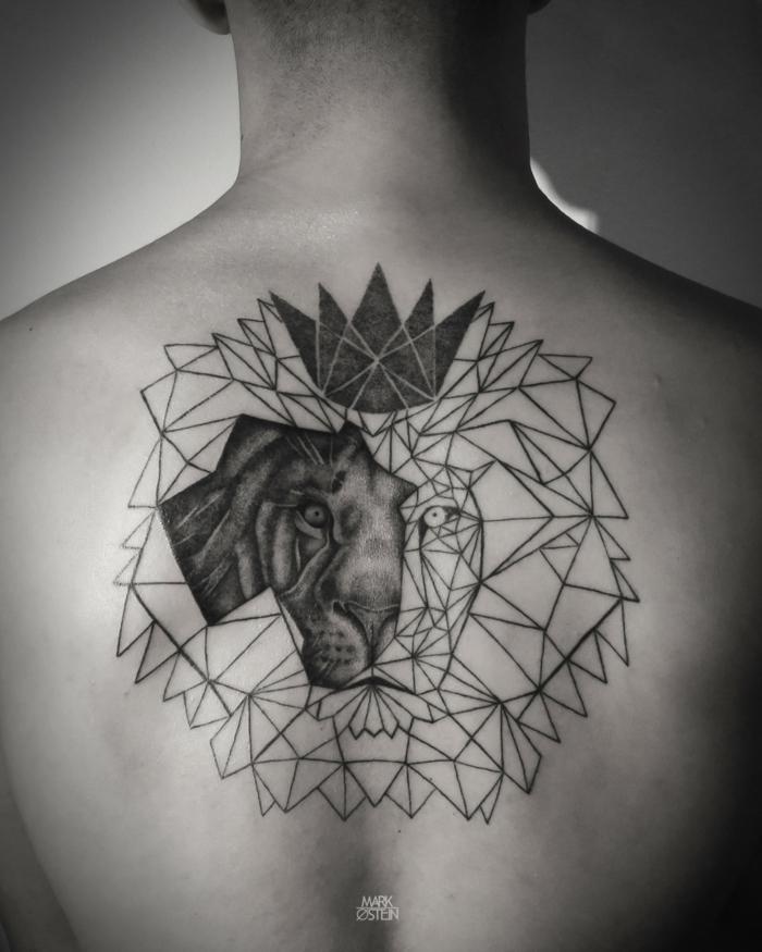 Un beau lion dessin tatouage tatoo tete de lion tatouage lion géométrique belle idée