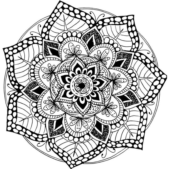 joli dessin de mandala à colorier à motif fleur géométrique, disposition symétrique des formes