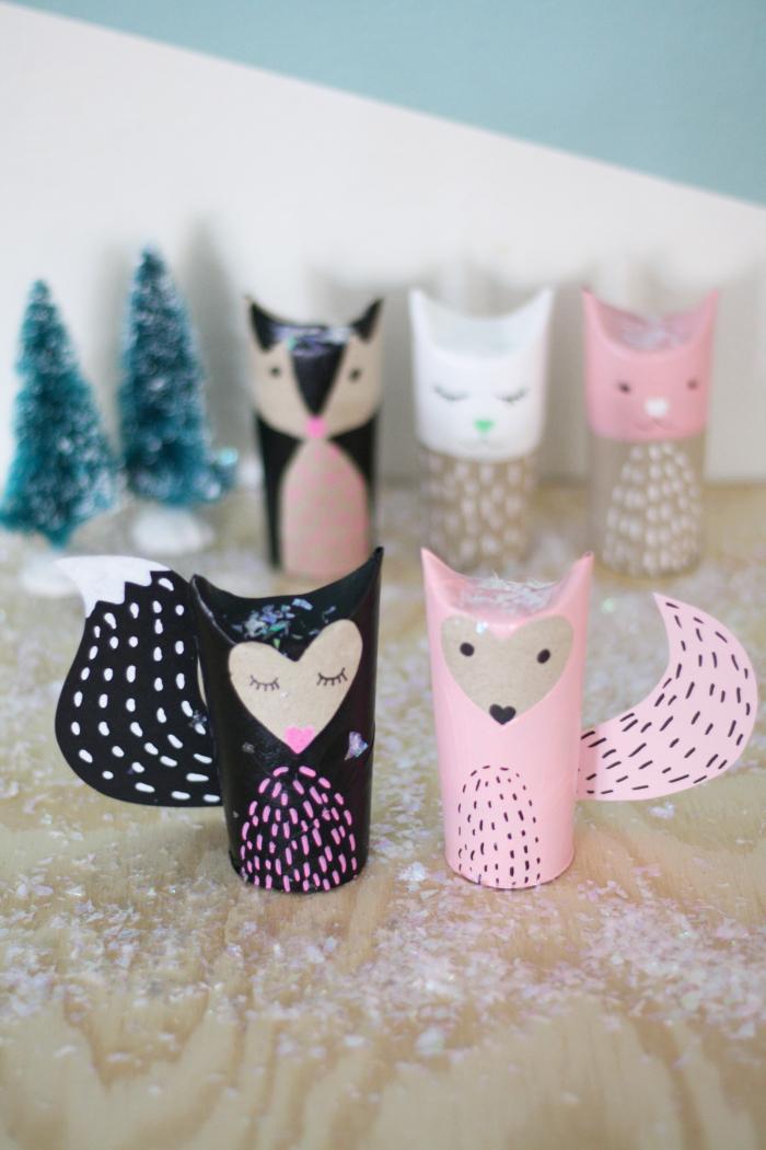 jolie idée pour un diy deco recup, les animaux de la forêt réalisés en tubes en carton récupérés