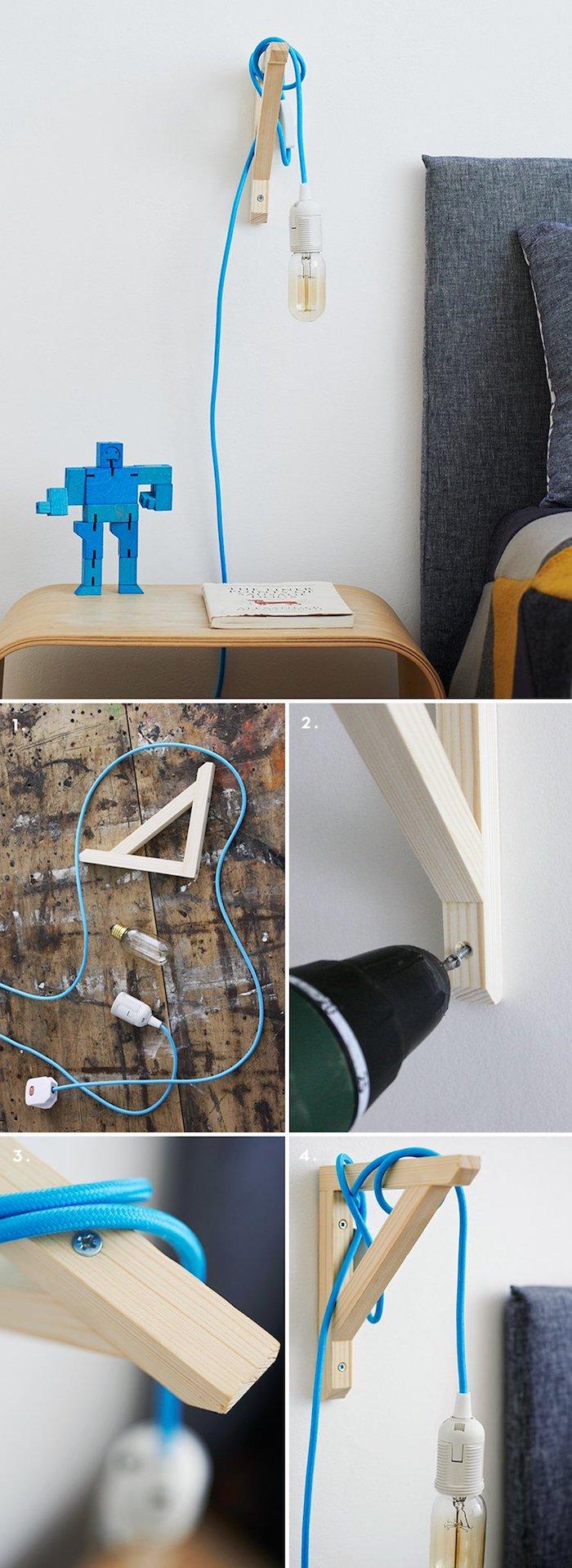 deco a faire soi meme, ampoule avec corde électrique en bleu foncé, figurine minecraft en bois bleu