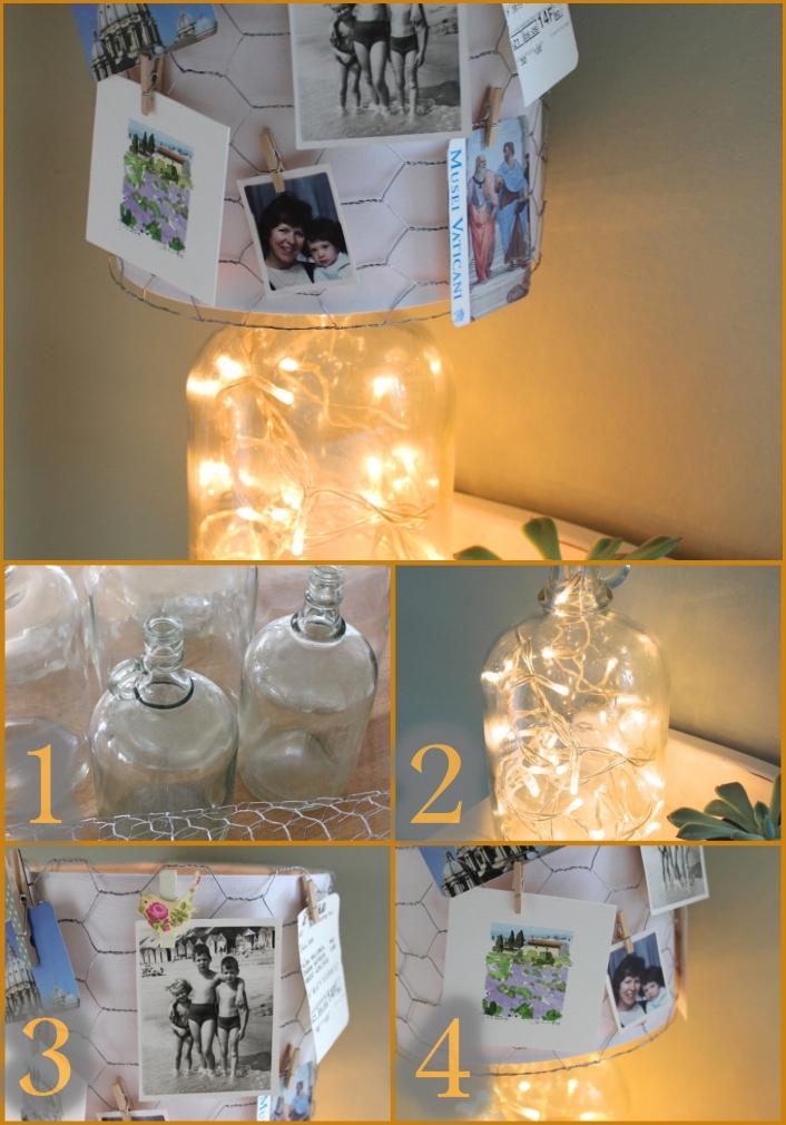 activité créative, que faire avec ses photos, diy projet avec photos en famille, lampe avec guirlande lumineuse
