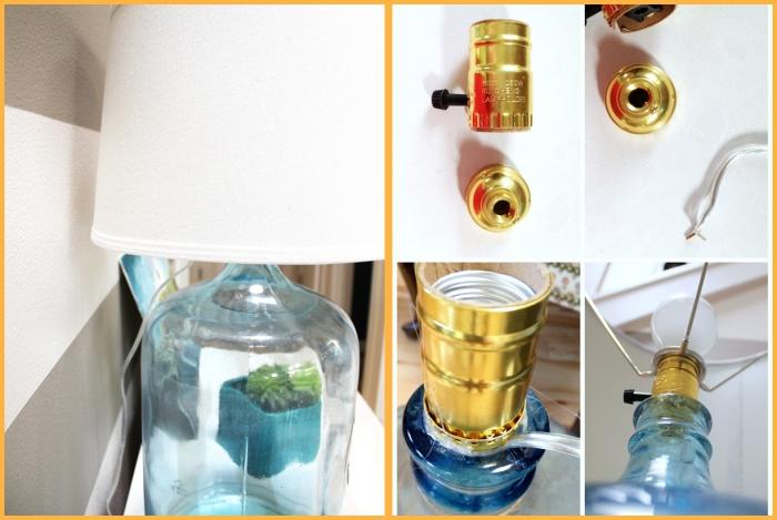 idée bricolage, étapes à suivre pour faire une lampe de chevet, bocal en verre bleu et lampe blanche