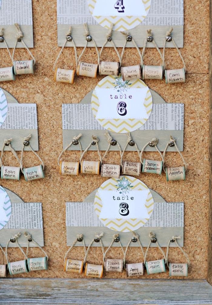diy mariage plan de table créatif fabriqué à partir de papier et bouchons de liège avec les noms des invités