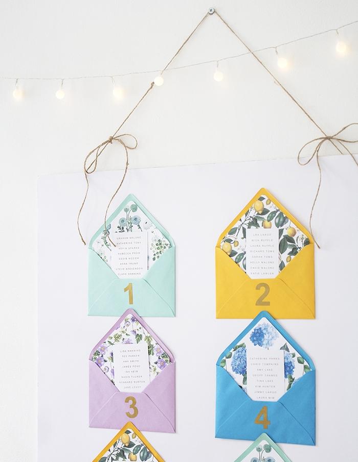 diy mariage plan de table, pancarte papier blanc avec des enveloppes colorés avec doublure colorée, étiquette noms invités