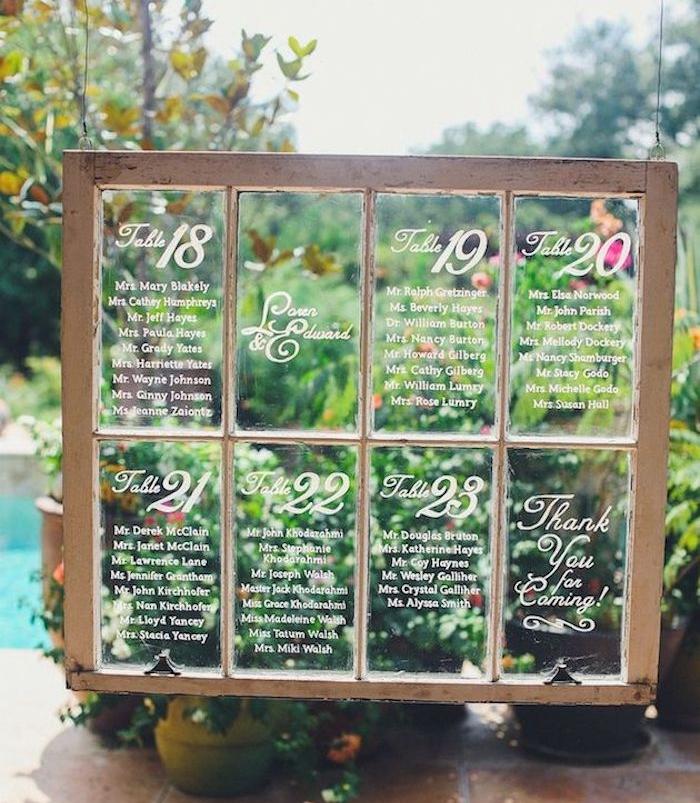 modele de diy mariage plan de table sur une vieille fenêtre en bois avec une liste des invités écrite sur les carreaux en verre