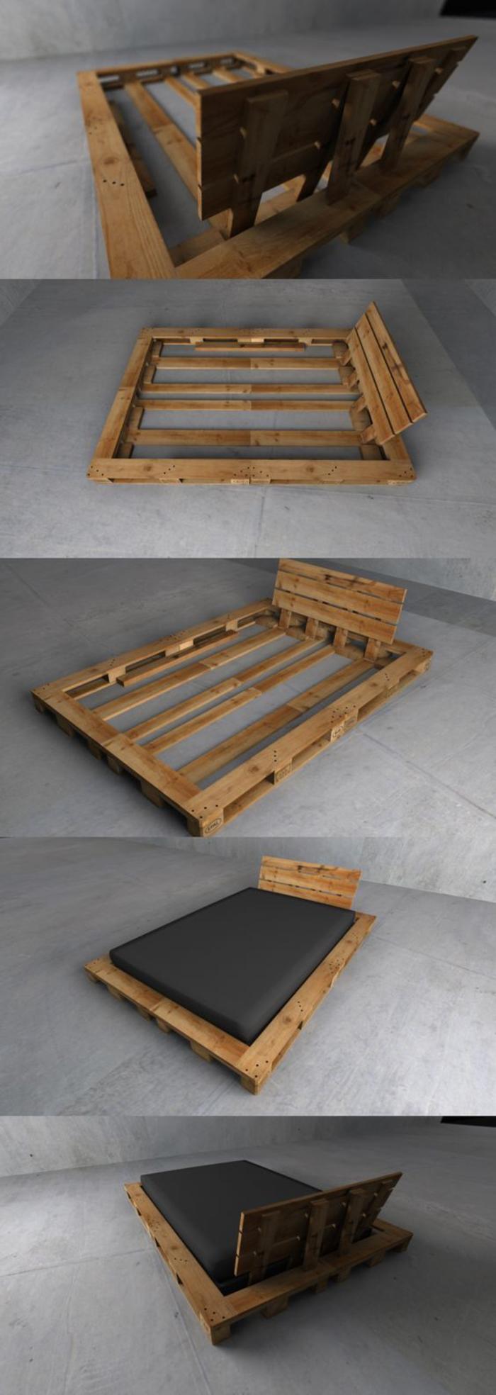 fabriquer un lit avec des palettes, étapes à suivre, construction lit en bois