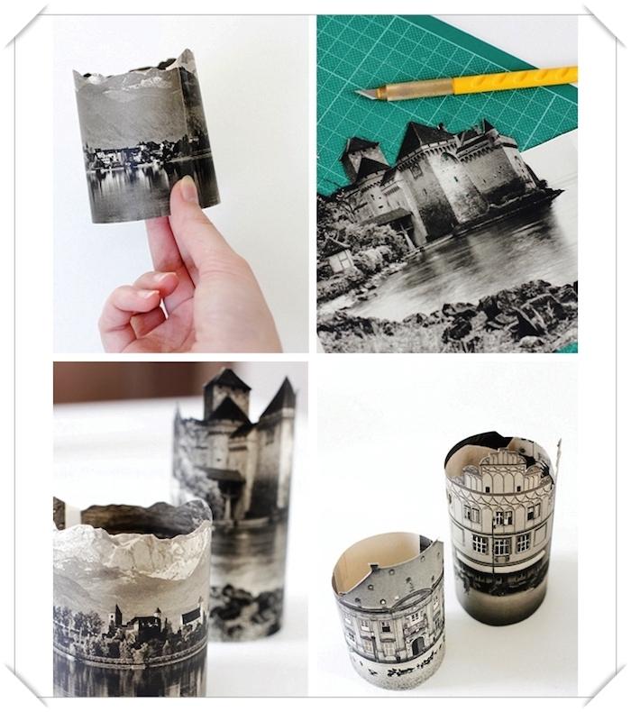 bricolage facile, étapes à suivre pour faire une lampe de chevet, coupure de journal en blanc et noir