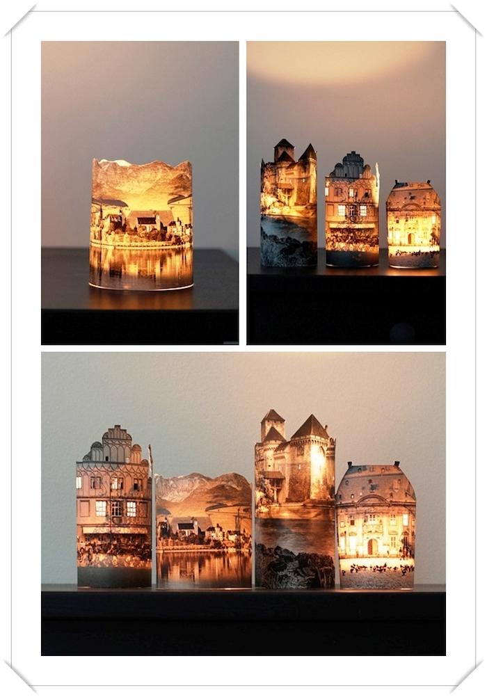 lampe de chevet enfant, activité manuelle avec pages de journal, paysage lumière de ville