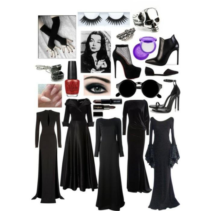 Robe longue noire avec manches pour la tenue de morticia parfait cinq idées de robe Morticia