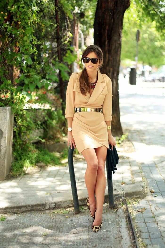 Devernois robe chemise marron femme robe blouse femme