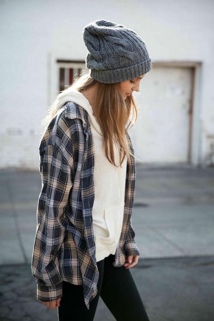 tenue simple de hipster pour fille avec chemise carreaux