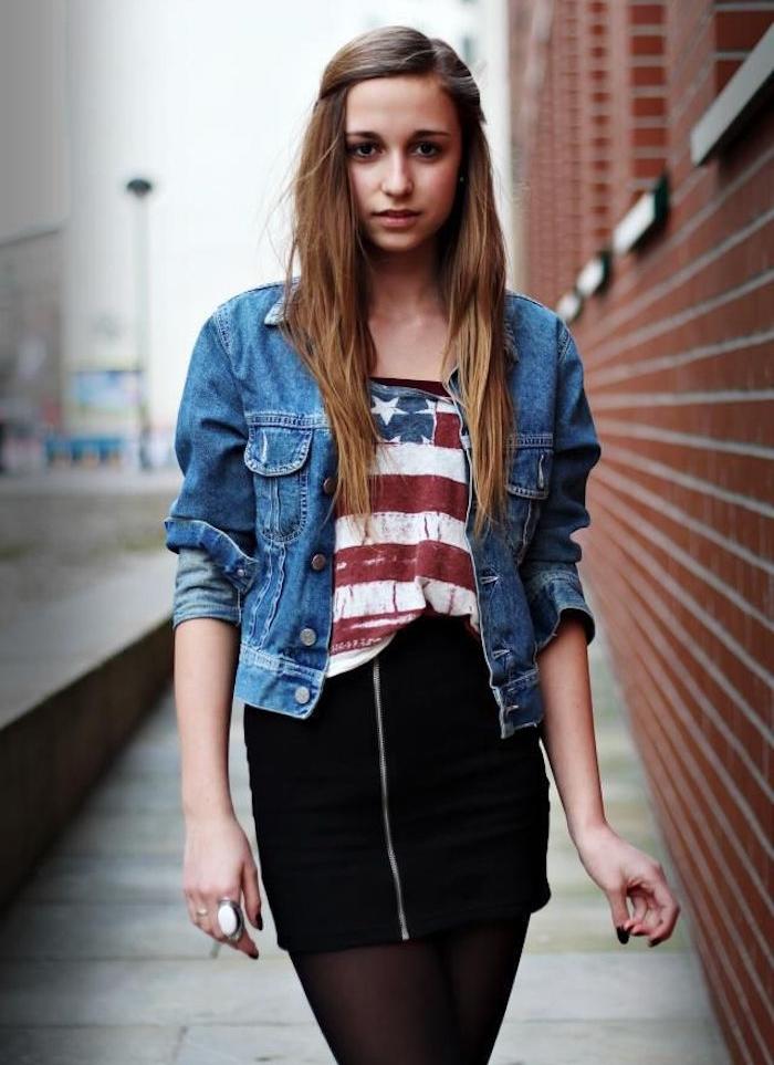look hipster fille vintage tenue mode jupe veste en jean levis