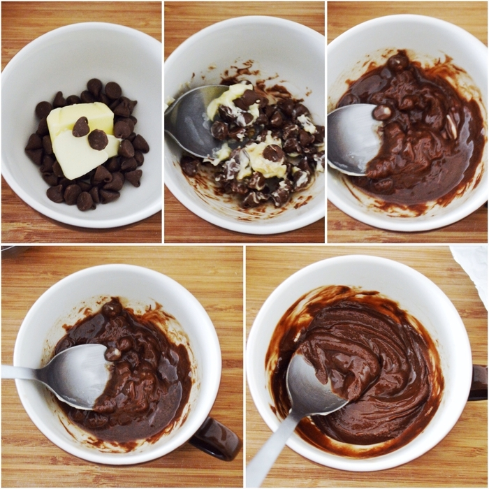 comment préparer un délicieux mug cake fondant chocolat et caramel, recette de dessert décadent au micro-ondes