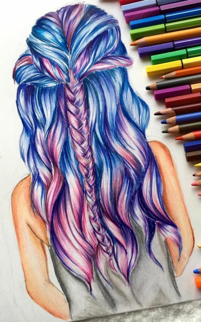Cheveux colorés tresse cool idée dessin tumblr like fille dessin avec crayons couleurs