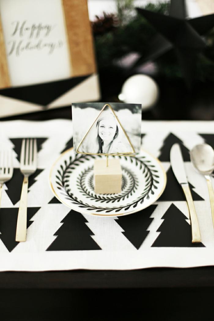 Etiquette marque place fête table décoration originale avec photos