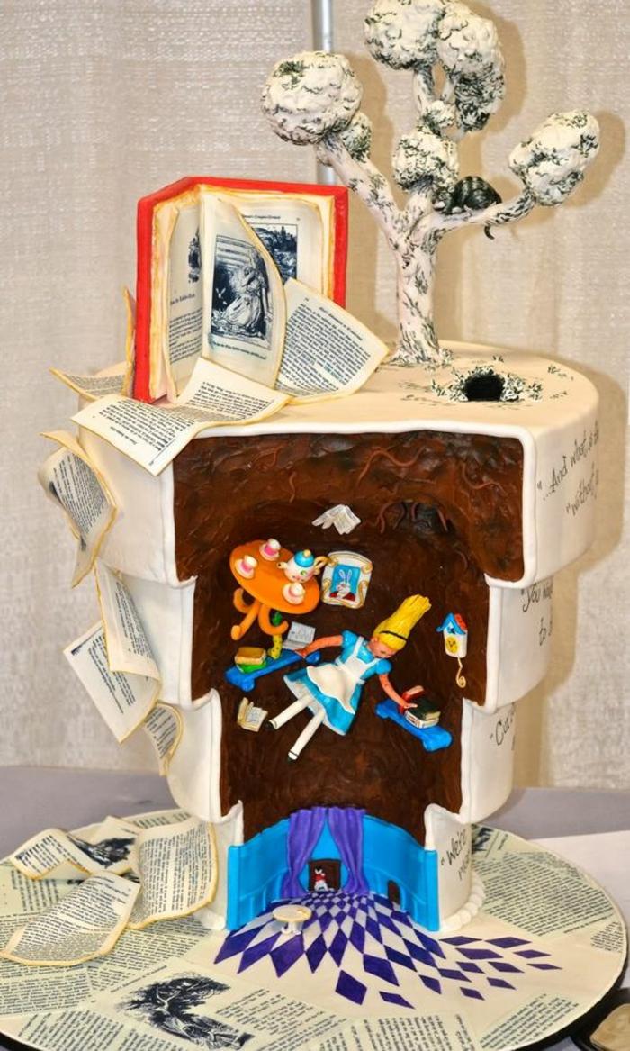 recette gateau anniversaire Alice au pays des merveilles avec la déco a l'envers