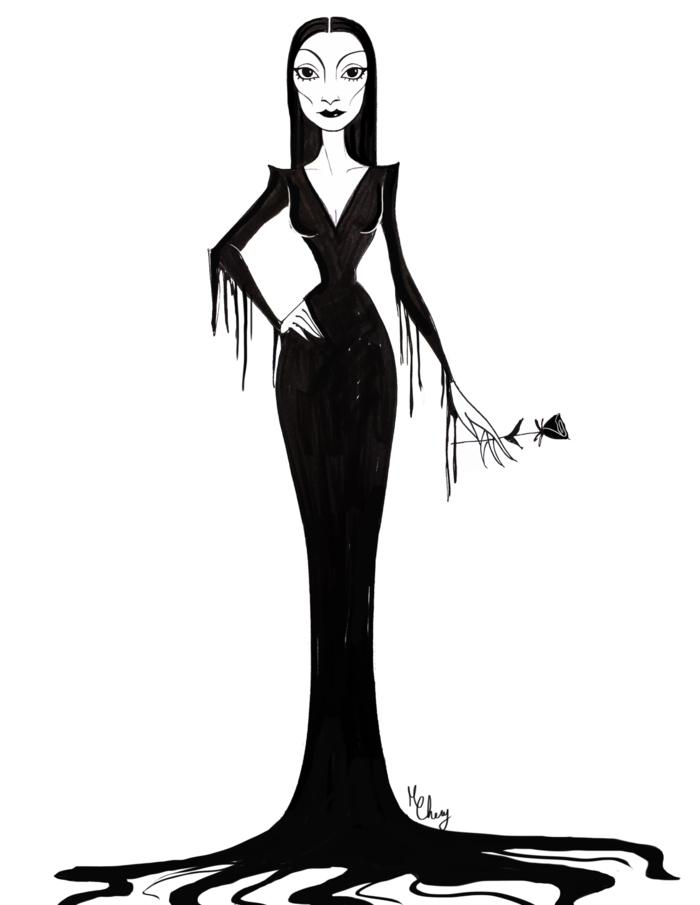 Halloween morticia addams déguisement facile robe longue noire robe longue