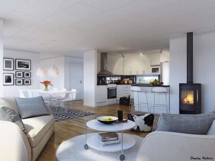 aménagement grand salon nappe nordique et deco murale scandinave ou meuble suédois design