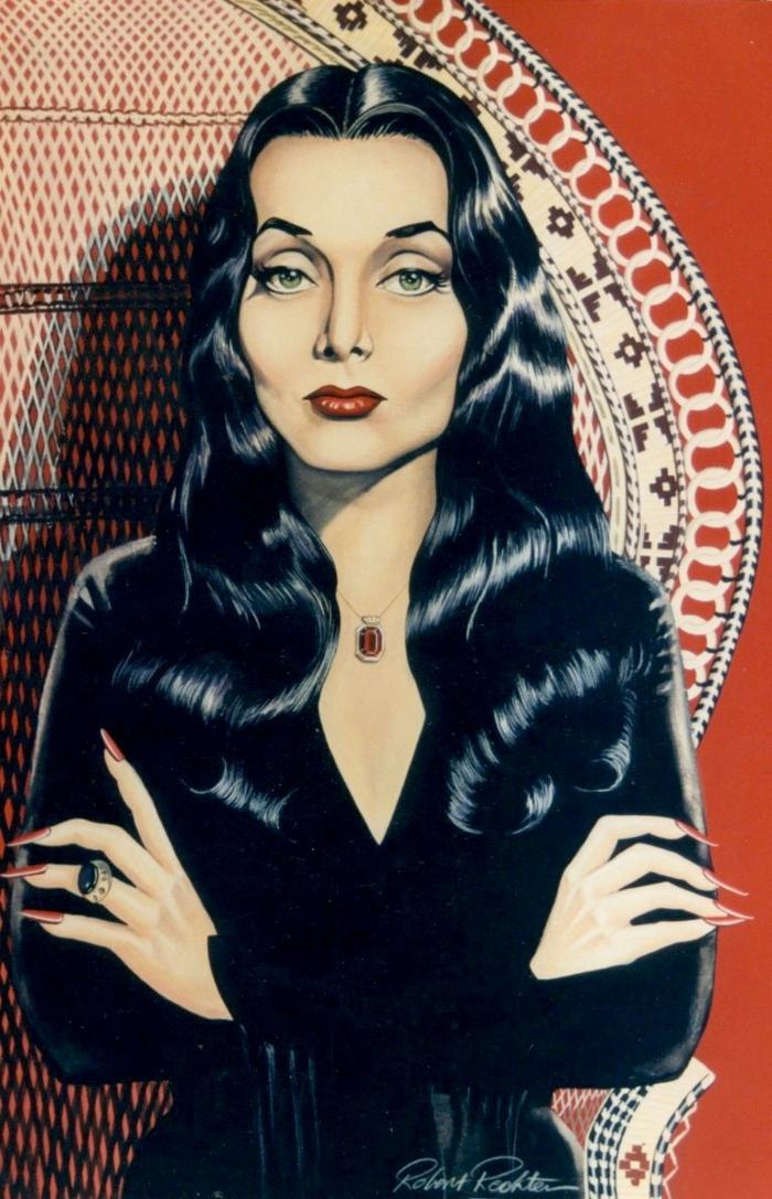 Image Morticia de la famille Addams dessin coloré joli belle femme gothique
