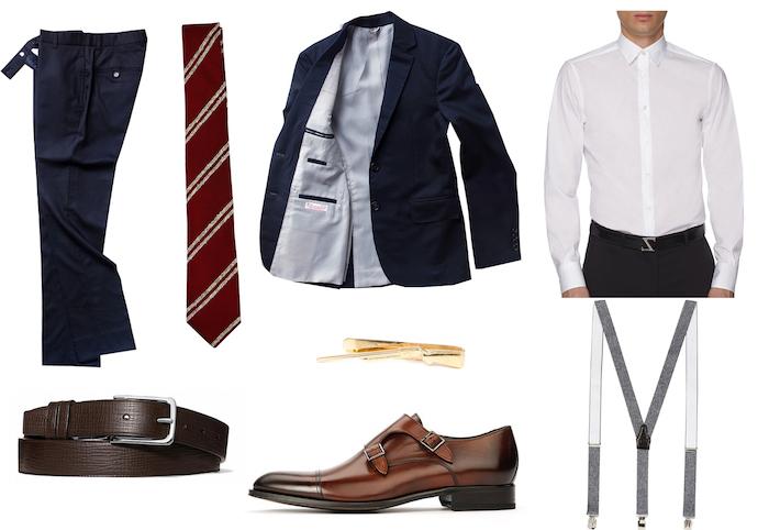 tenue homme d'affaire et les accessoires nécessaires, costume bleu foncé avec bretelles