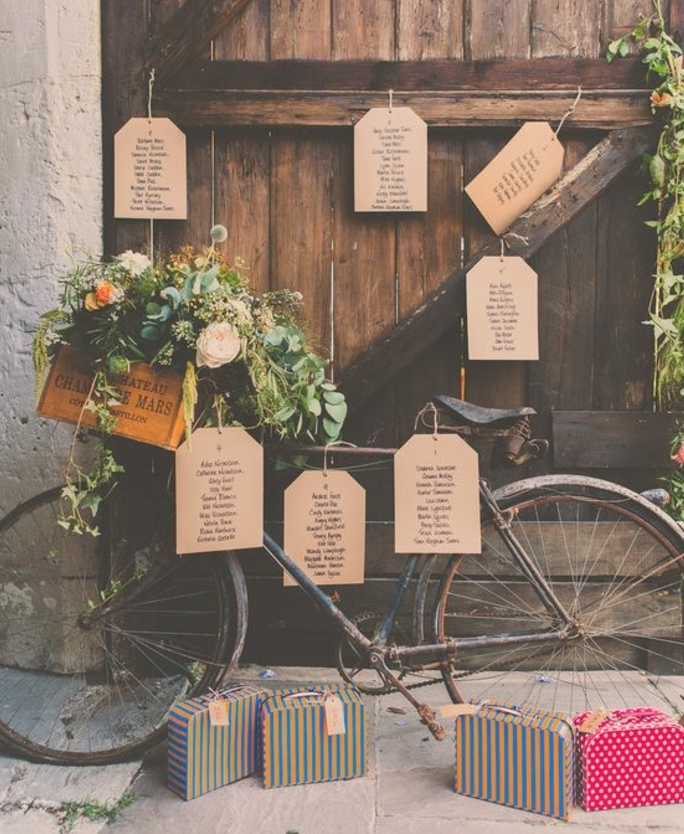 exemple de plan de table pour mariage vintage campagne, porte en bois usé et vélo avec des étiquettes en papier kraft, contenant les noms des invités, petites malles colorées et caisse en bois fleurie