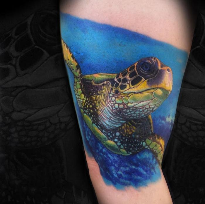 idée tatouage femme, tortue de mer, image du fond marin, eau bleue