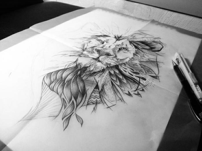 Motif tatouage lions pectoraux tatouage représentant la force beau dessin