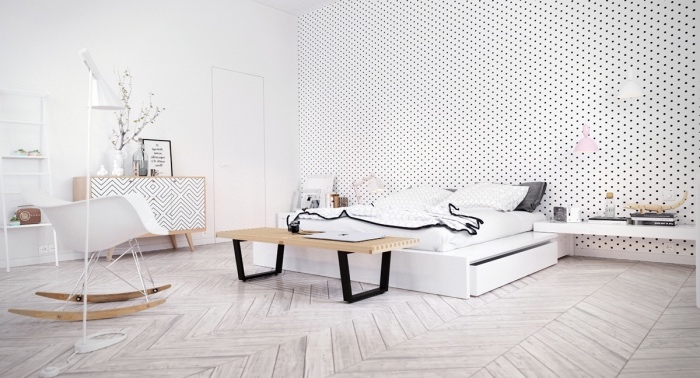deco esprit scandinave, parquet clair, lit blanc et linge de lit blanc, noir, gris, mur d accent blanc à pois, commode scandinave, chaise à bascule