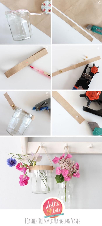 tutoriel pour créer une deco suspendue de vases de fleurs, suspension en cuir et pots de fleurs ou verres, astuce deco recup