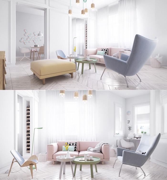 idée amenagement salon scandinave, parquet clair, canapé rose pastel, fauteuil gris, tabouret jaune pastell, rideau blanc, suspensions originales