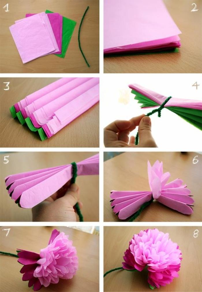 idée comment faire des fleur en papier de soie, tutoriel simple, recyclage papier, deco a faire soi meme recup