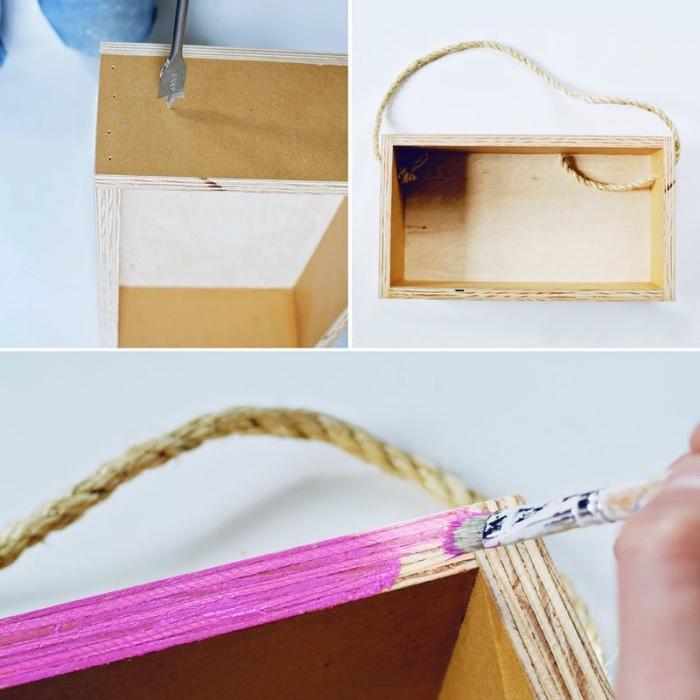 idée comment faire une etagere cagette soi meme, déco avec de la récup, caisses de bois recyclage, suspension en corde