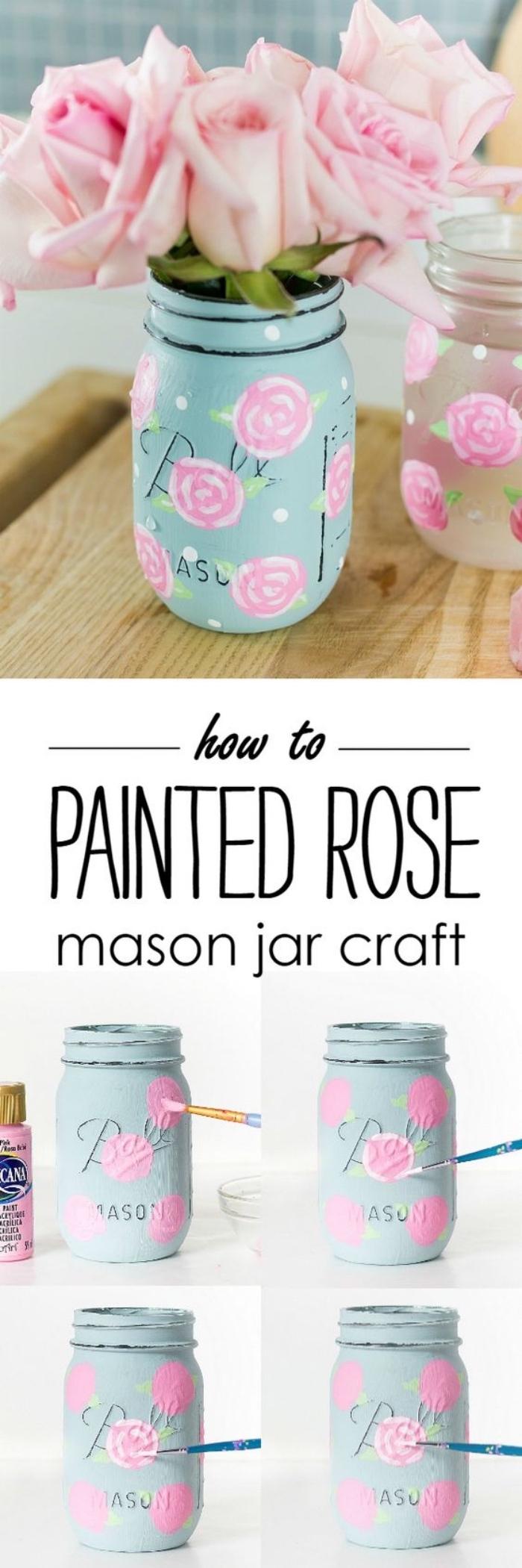 exemple de deco fait maison simple, un pot en verre, repeint de peinture bleu pastel et roses dessinés à la main, bouquet de roses