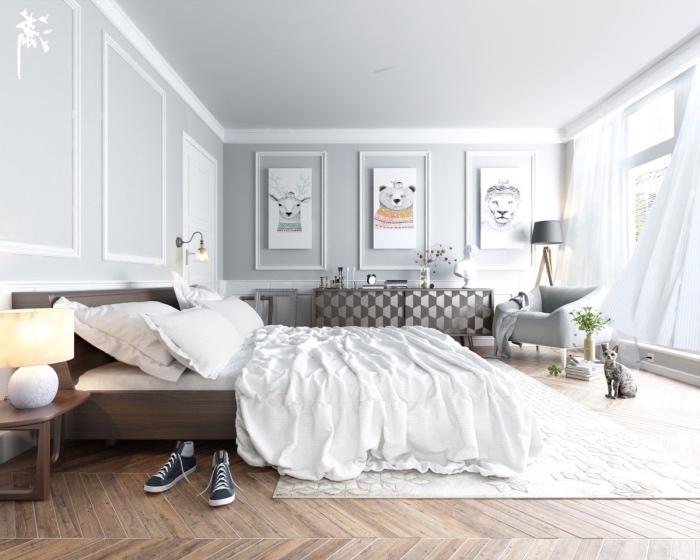 decoration inspiraion scandinave dans une chambre à coucher, parquet clair, linge de lit blanc, commode gris et marron, deco murale dessin animaux, mur couleur grise
