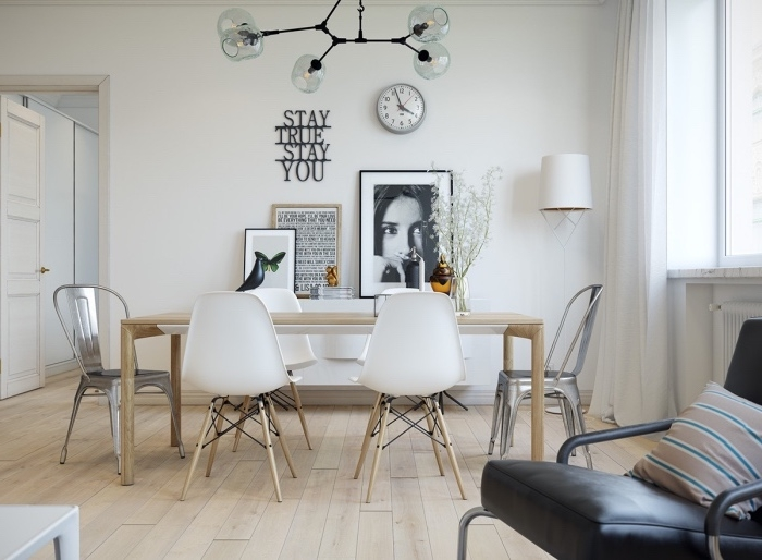 modele de déco scandinave, parquet clair dans une saale à manger, table en bois massif, chaises scandinaves, decoration murale graphique, suspension originale