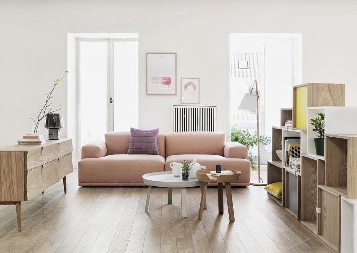 idée déco scandinave, tendance hygge, canapé rose vlair, tables basses gigognes, étagères en bois, commode bois, murs blancs