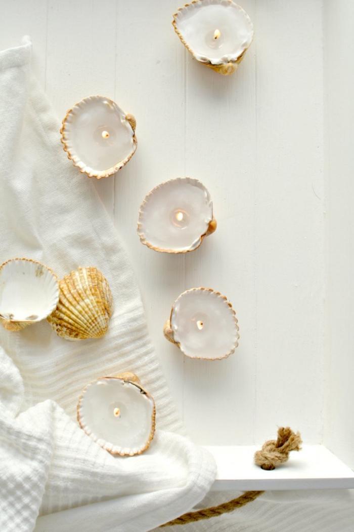 recyclage coquilles d oeuf, remplies de cire et transformées en petite bougeoirs, idee creation deco simple