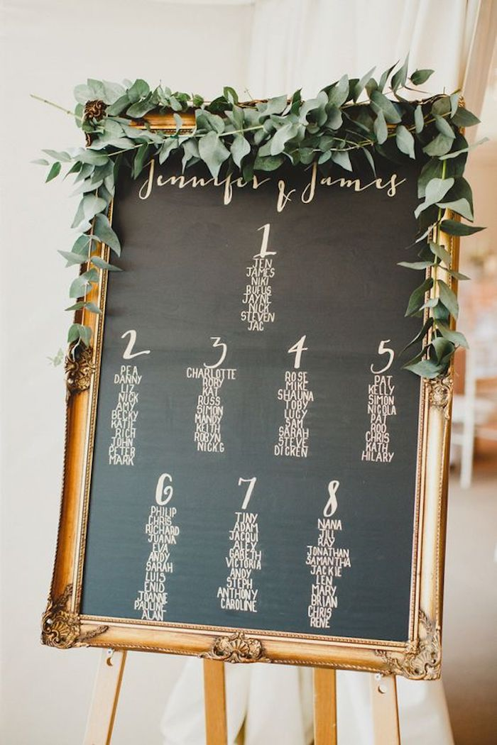 modele de plan de table pour mariage en tableau noir avec noms invités et nombres table écrits en blanc, cadre baroque et guirlande de laurier